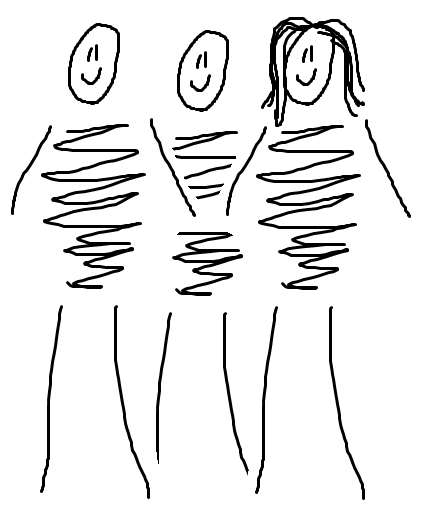 Three stick figures