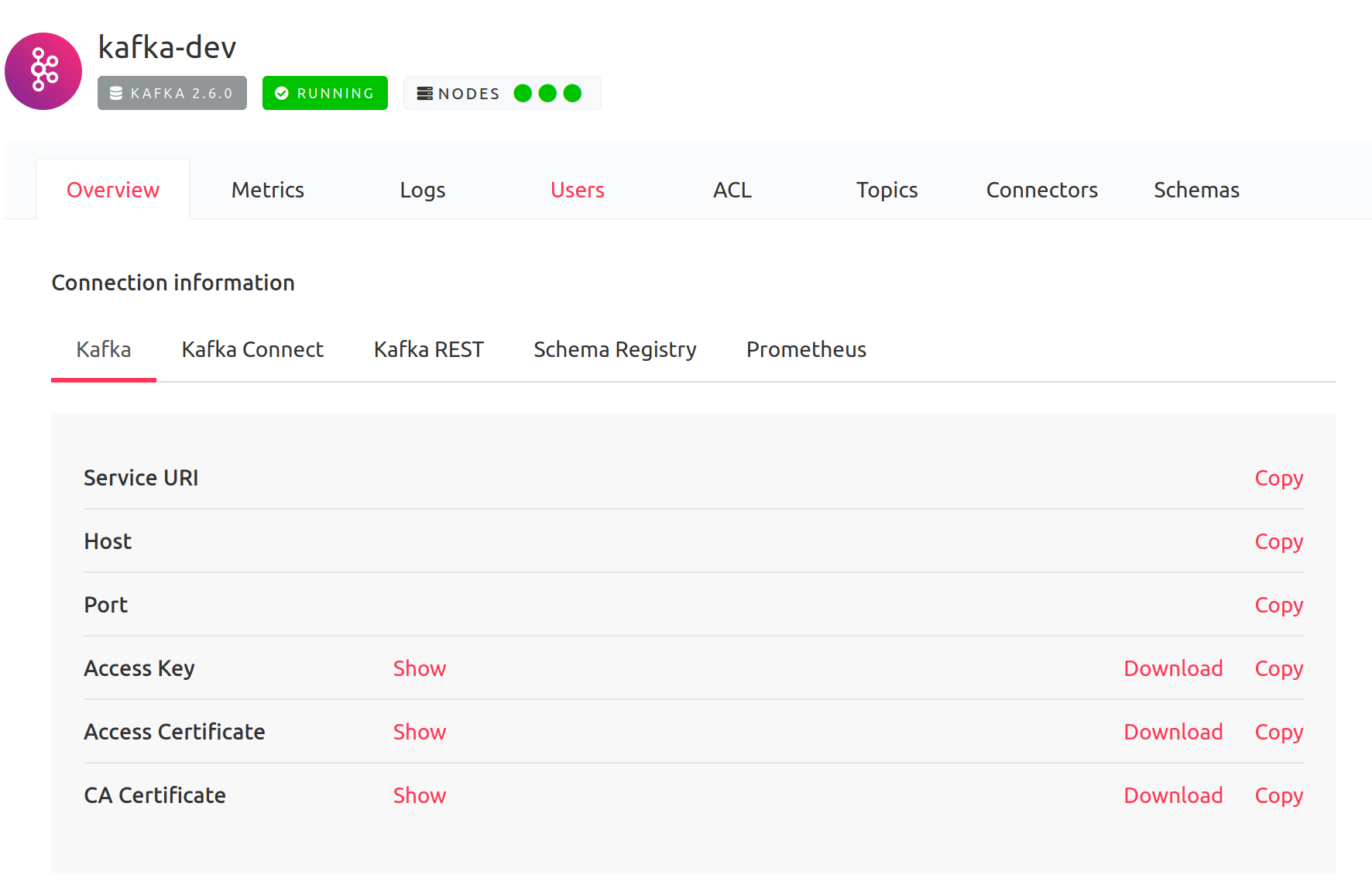 Screenshot from Aiven portal, Kafka Overview tab with connection information, last one is CA Certificate