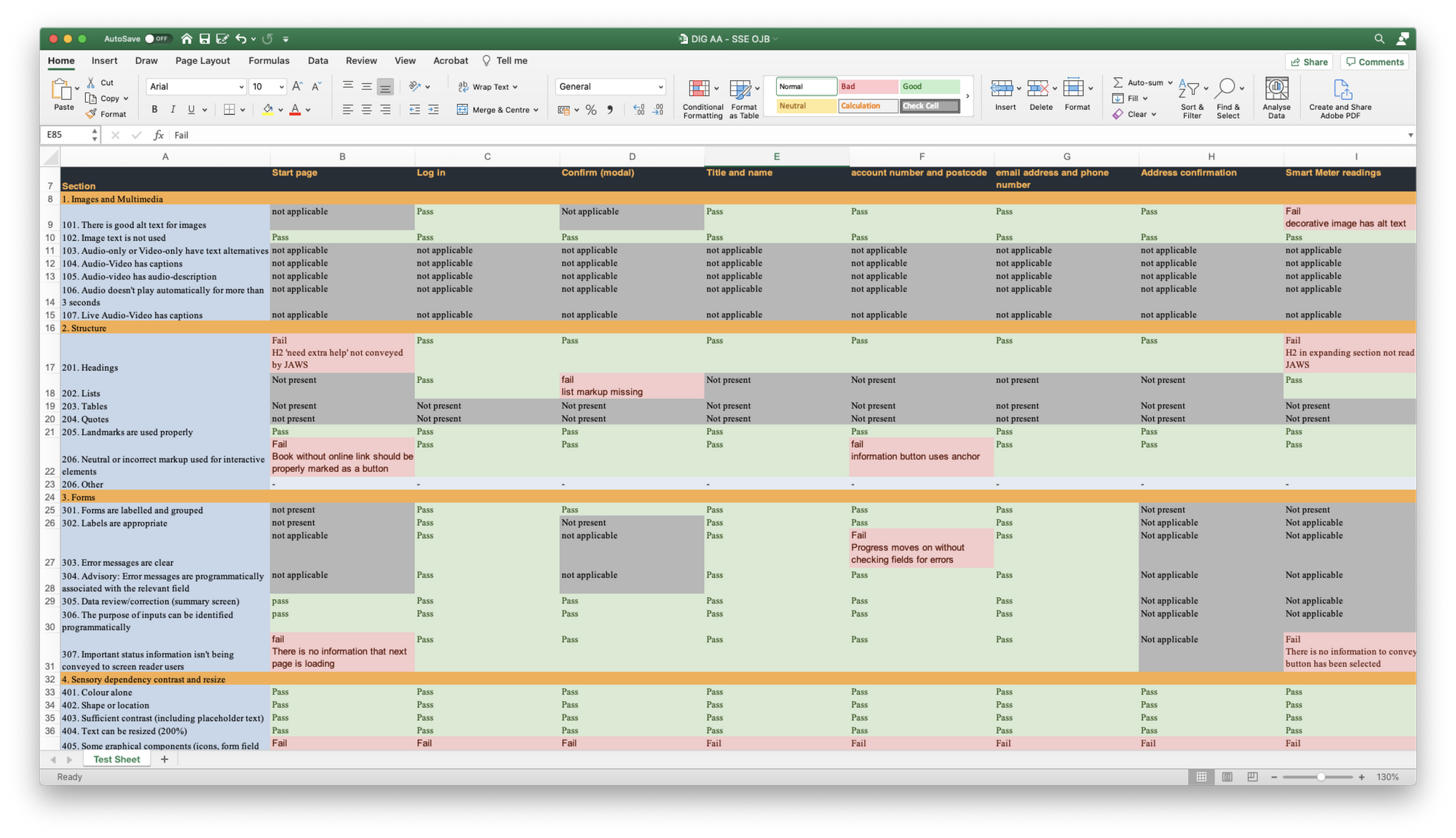 A matrix of screens along the top, and guidelines listed down the left hand side; colour coded to illustrate which screens failed accessibility guidelines and which screens passed.
